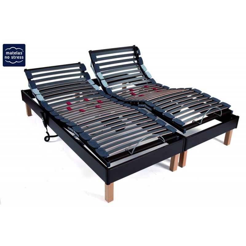 sommier d co relaxation electrique coloris weng matelas no stress. Black Bedroom Furniture Sets. Home Design Ideas