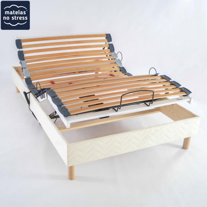 Sommier 100x210 Relaxation Electrique sur pieds