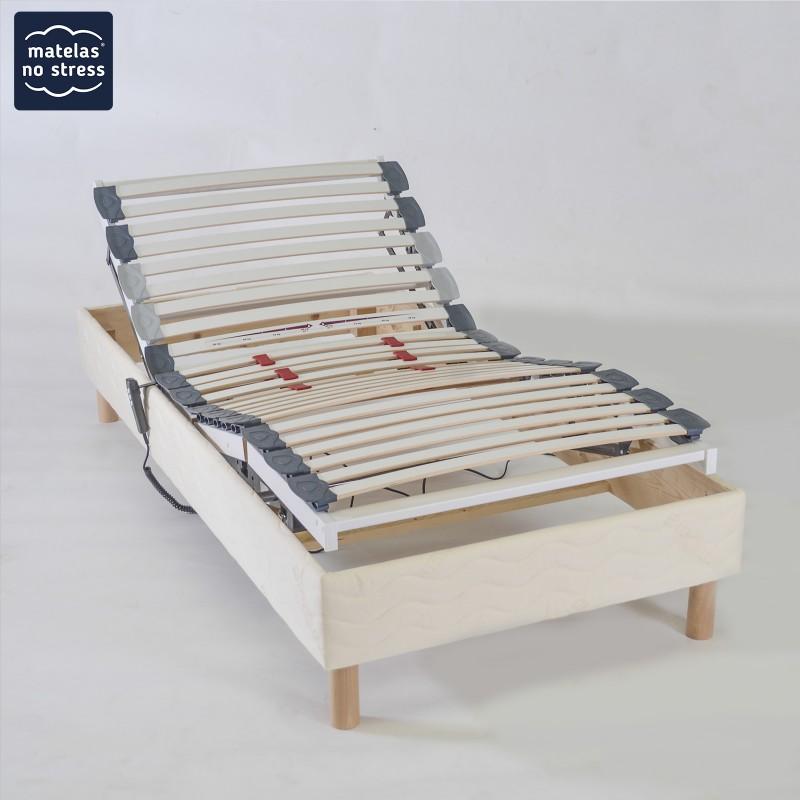 sommier 90x210 relaxation electrique pour entourage bois de lit 180x210 matelas no stress. Black Bedroom Furniture Sets. Home Design Ideas