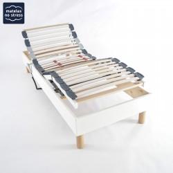 Sommier Déco 90x190 cuir blanc Relaxation Electrique