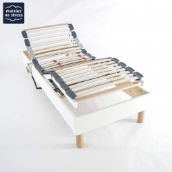 Sommier Déco 100x200 cuir blanc Relaxation Electrique