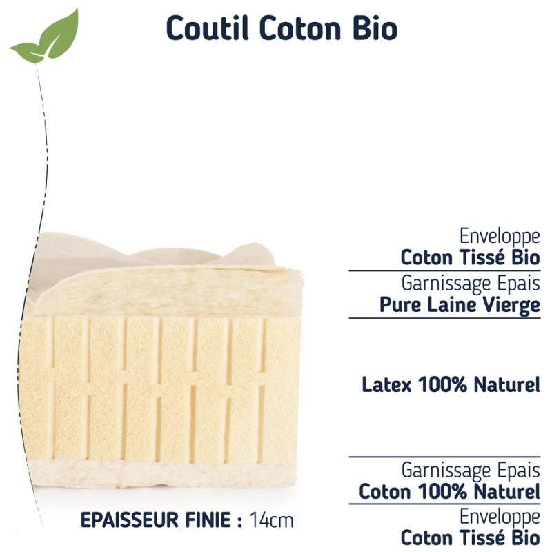matelas 100 % latex naturel 90x190 ferme pas cher