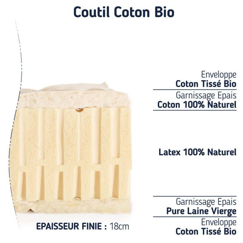 Matelas 100% latex naturel 90x200 ferme bio