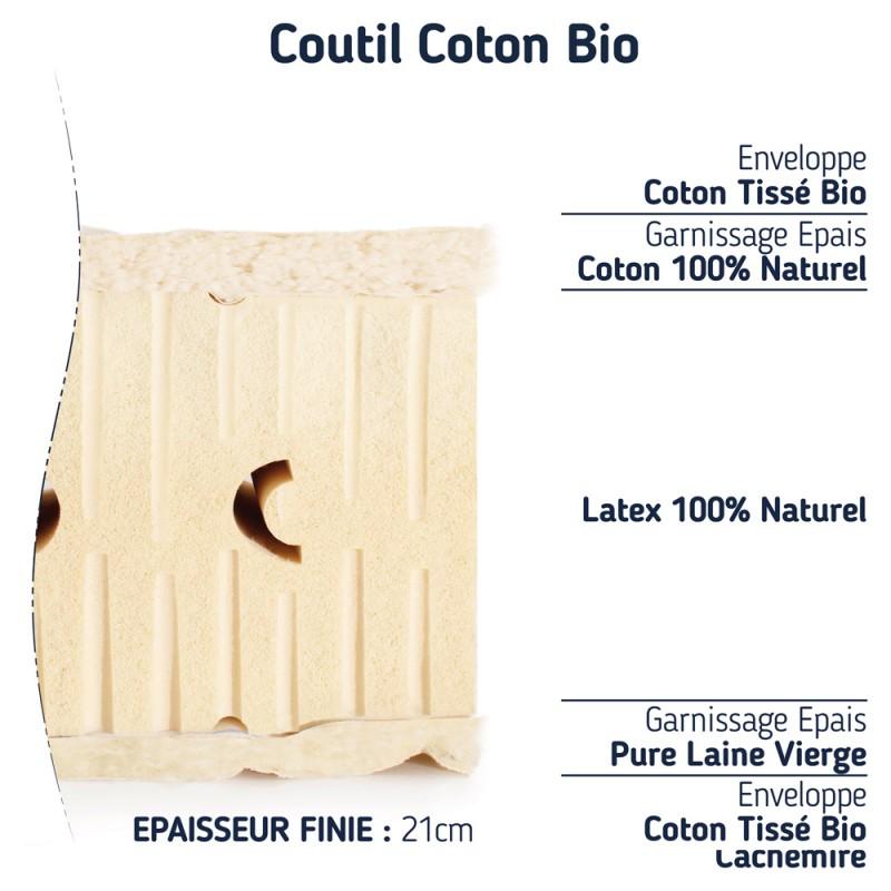 matelas 140x200 100% latex naturel ferme 7 zones de confort