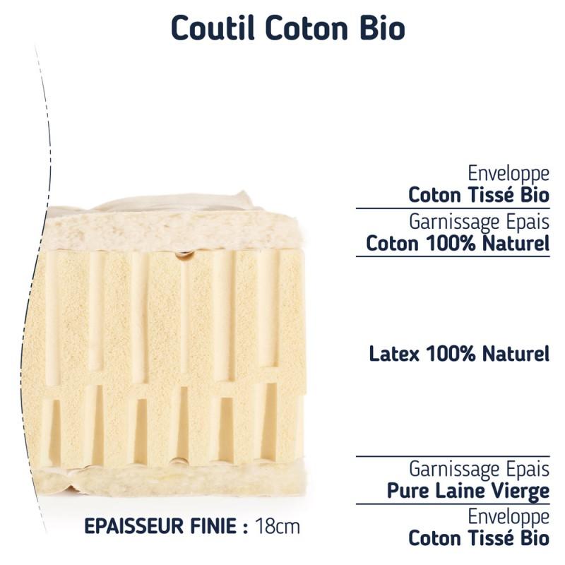 Elégance Bio Matelas 100% latex naturel 180x200