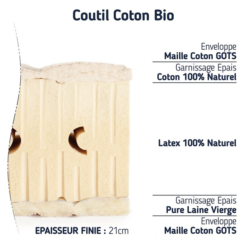 matelas 100 % latex naturel BIO moelleux