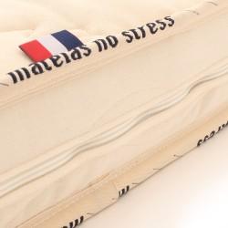Matelas housse avec zip sur 3 côté, housse lavable, matelas bio latex et coton 1