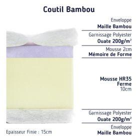 matelas bambou 90x190 mémoire de forme confort ferme