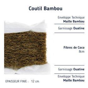 Matelas 60x120 en fibres de coco avec son coutil bambou.