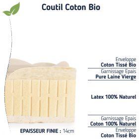 matelas lit d'appoint 100 % latex bio naturel épaisseur 12 cm