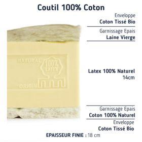 Le Matelas Bio 100 % latex naturel demi corbeille 80+80x190
