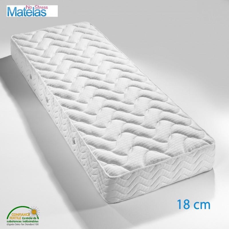 Matelas 180x210 mousse confort équilibré, mousse de haute résilience 18 cm