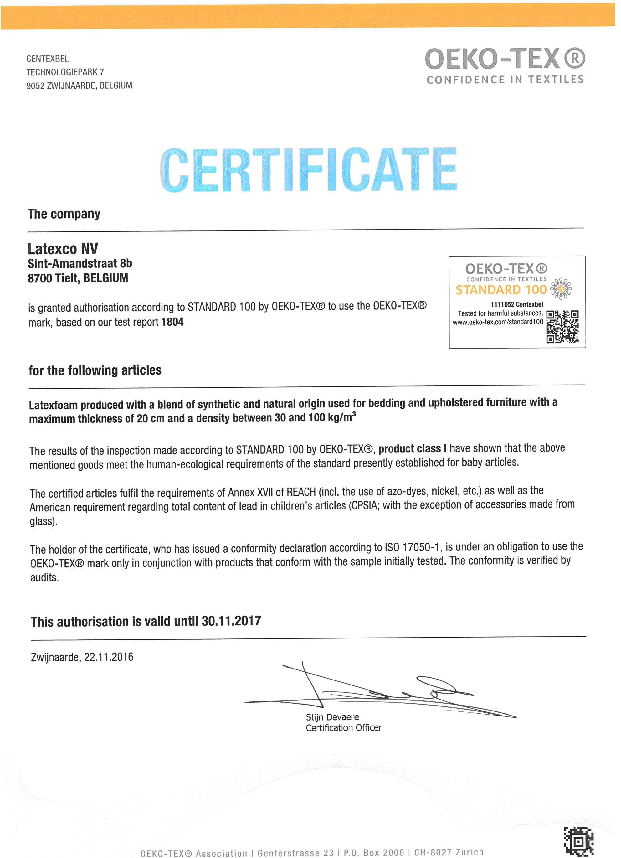 Certificat Oeko Tex 2018 Latexco Matelas NoStress