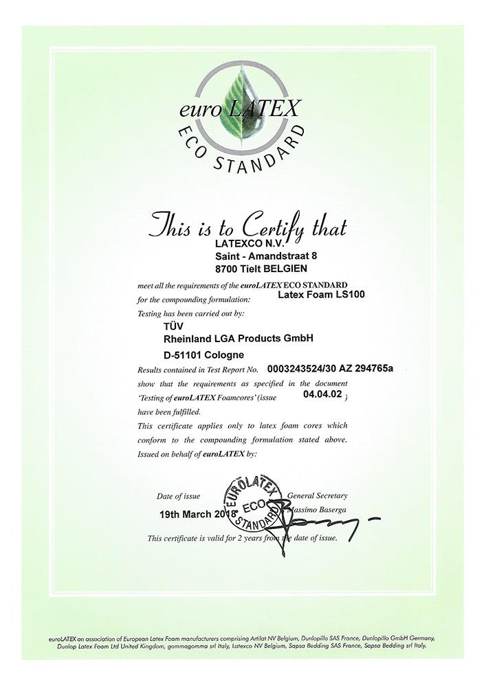 certificat euro-latex de chez Latexco