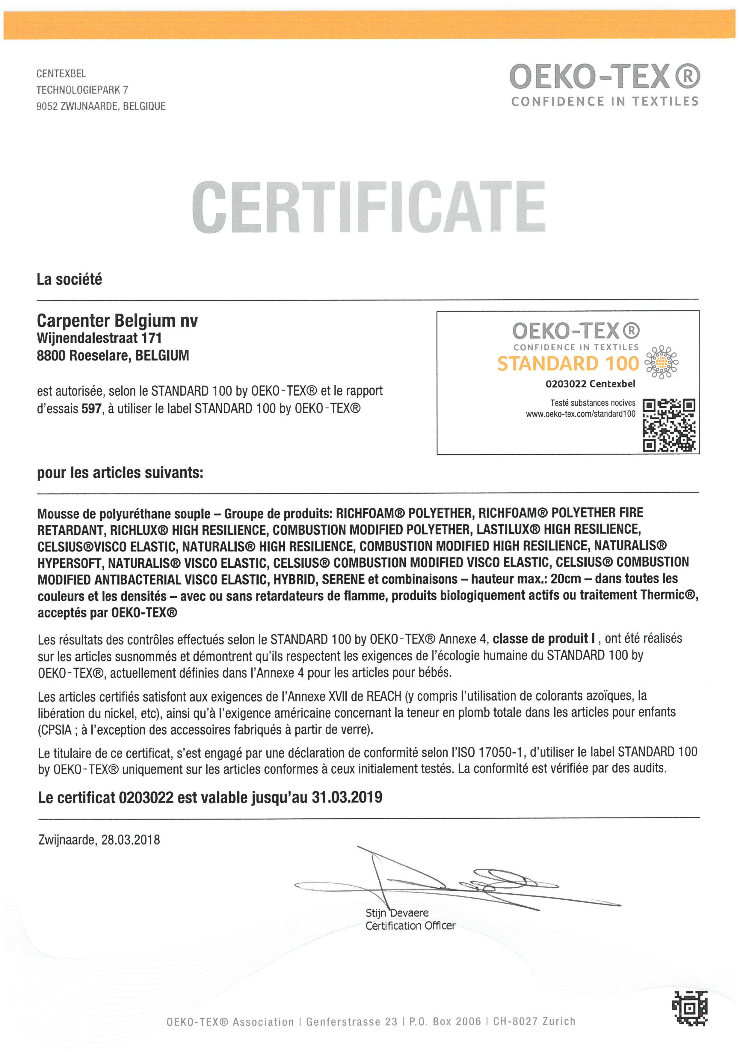 certificat Standard 100 by Oeko tex