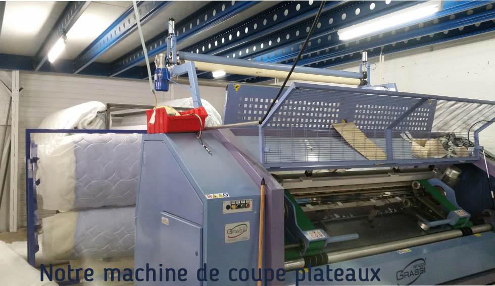 Machine de coupe plateaux matelas